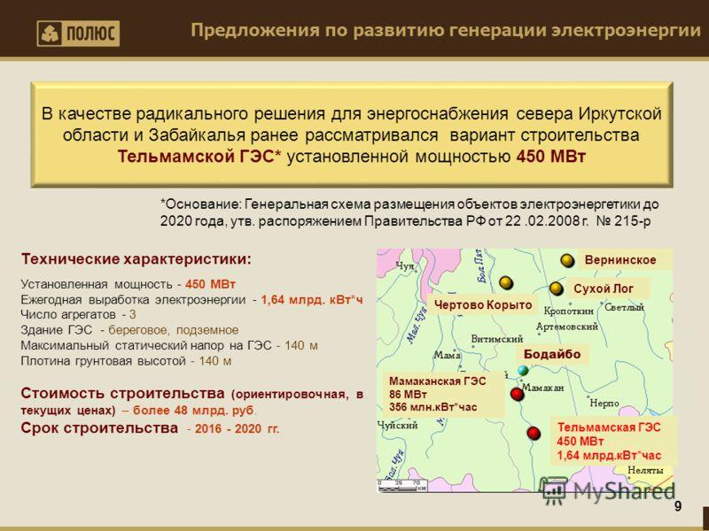 Предложения по развитию генерации электроэнергии 9 В качестве радикального решения для энергоснабжения севера Иркутской области и Забайкалья ранее рассматривался вариант строительства Тельмамской ГЭС* установленной мощностью 450 МВт Установленная мощ