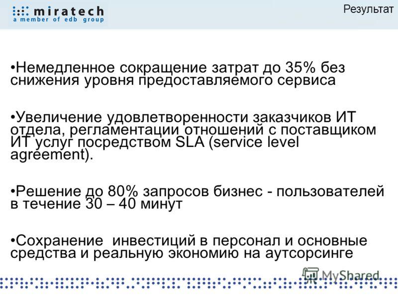 Результат Немедленное сокращение затрат до 35% без снижения уровня предоставляемого сервиса Увеличение удовлетворенности заказчиков ИТ отдела, регламентации отношений с поставщиком ИТ услуг посредством SLA (service level agreement). Решение до 80% за