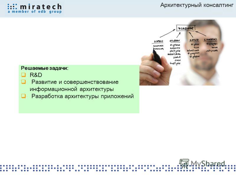 Решаемые задачи: R&D Развитие и совершенствование информационной архитектуры Разработка архитектуры приложений Архитектурный консалтинг