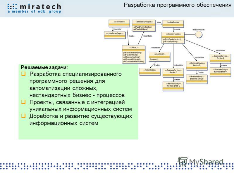 Разработка программного обеспечения Решаемые задачи: Разработка специализированного программного решения для автоматизации сложных, нестандартных бизнес - процессов Проекты, связанные с интеграцией уникальных информационных систем Доработка и развити
