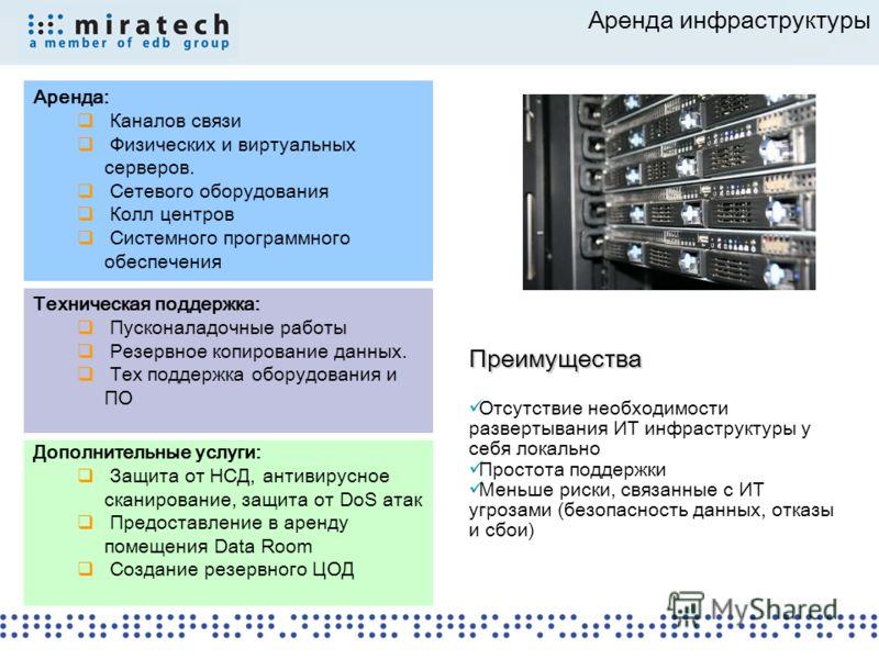 Аренда инфраструктуры Аренда: Каналов связи Физических и виртуальных серверов. Сетевого оборудования Колл центров Системного программного обеспечения Дополнительные услуги: Защита от НСД, антивирусное сканирование, защита от DoS атак Предоставление в