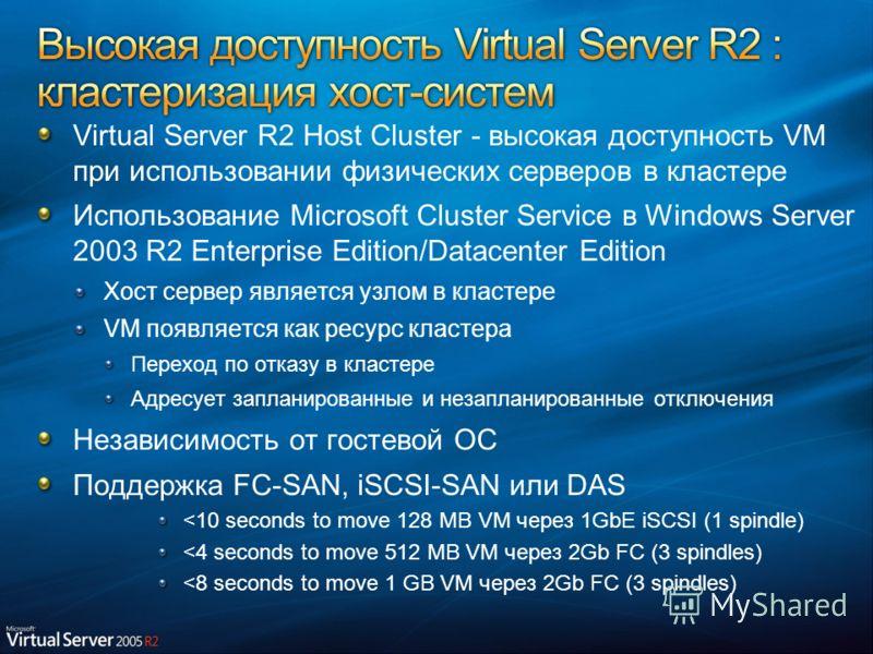 Virtual Server R2 Host Cluster - высокая доступность VM при использовании физических серверов в кластере Использование Microsoft Cluster Service в Windows Server 2003 R2 Enterprise Edition/Datacenter Edition Хост сервер является узлом в кластере VM п