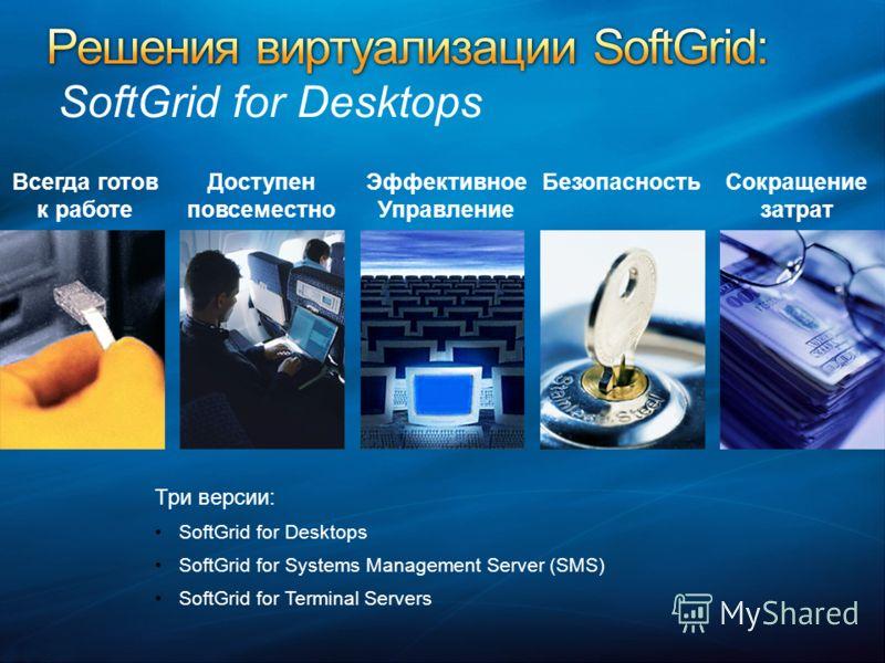 Сокращение затрат Доступен повсеместно Эффективное Управление БезопасностьВсегда готов к работе Три версии: SoftGrid for Desktops SoftGrid for Systems Management Server (SMS) SoftGrid for Terminal Servers