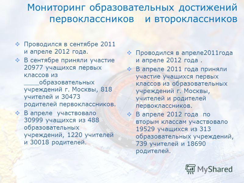 Мониторинг образовательных достижений первоклассников и второклассников Проводился в сентябре 2011 и апреле 2012 года. В сентябре приняли участие 20977 учащихся первых классов из ____образовательных учреждений г. Москвы, 818 учителей и 30473 родителе
