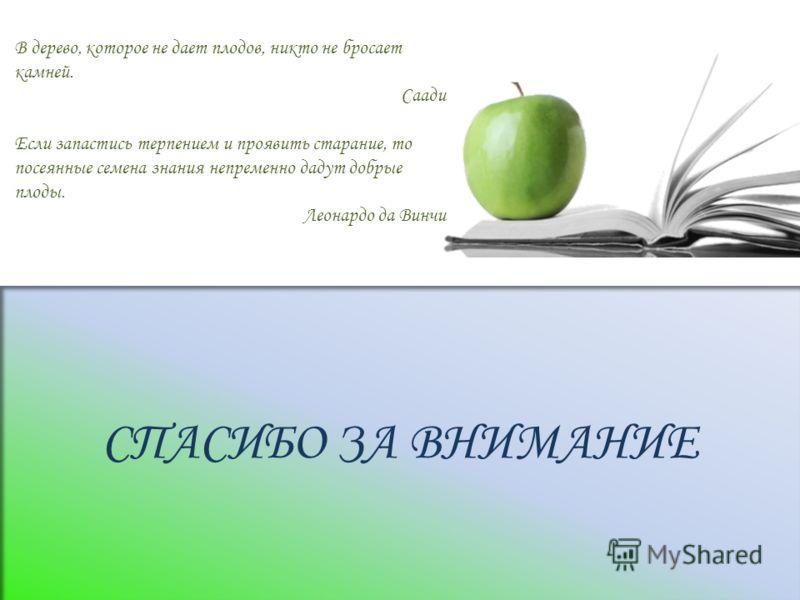 СПАСИБО ЗА ВНИМАНИЕ В дерево, которое не дает плодов, никто не бросает камней. Саади Если запастись терпением и проявить старание, то посеянные семена знания непременно дадут добрые плоды. Леонардо да Винчи
