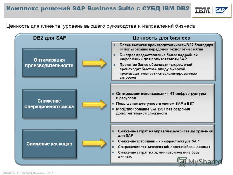 © 2009 SAP AG. Все права защищены. / Стр. 11 Комплекс решений SAP Business Suite с СУБД IBM DB2 Ценность для клиента: уровень высшего руководства и направлений бизнеса Более высокая производительность BS7 благодаря использованию передовой технологии