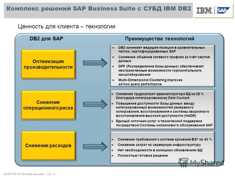 © 2009 SAP AG. Все права защищены. / Стр. 12 Комплекс решений SAP Business Suite с СУБД IBM DB2 DB2 занимает ведущие позиции в сравнительных тестах, сертифицированных SAP Снижение объёмов сетевого трафика за счёт сжатия данных DPF (Распределение базы