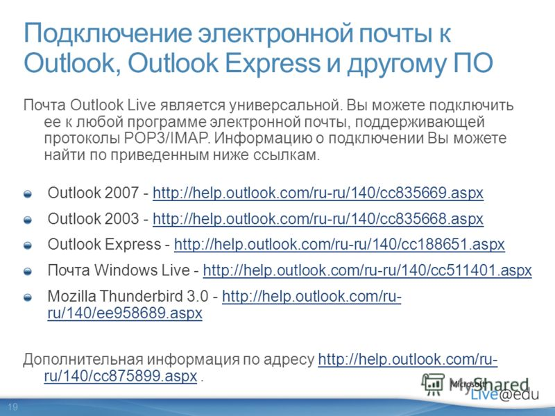 19 Подключение электронной почты к Outlook, Outlook Express и другому ПО Outlook 2007 - http://help.outlook.com/ru-ru/140/cc835669.aspxhttp://help.outlook.com/ru-ru/140/cc835669.aspx Outlook 2003 - http://help.outlook.com/ru-ru/140/cc835668.aspxhttp: