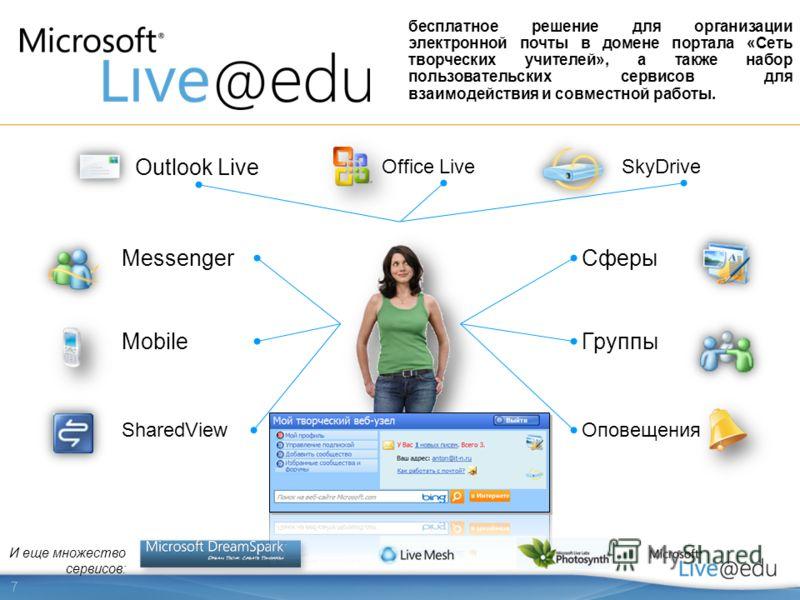 7 Сферы Mobile Office Live Оповещения Messenger И еще множество сервисов: SharedView Outlook Live Группы SkyDrive бесплатное решение для организации электронной почты в домене портала «Сеть творческих учителей», а также набор пользовательских сервисо