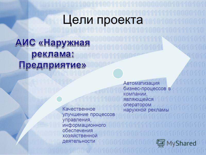 Цели проекта Качественное улучшение процессов управления, информационного обеспечения хозяйственной деятельности Автоматизация бизнес-процессов в компании, являющейся оператором наружной рекламы