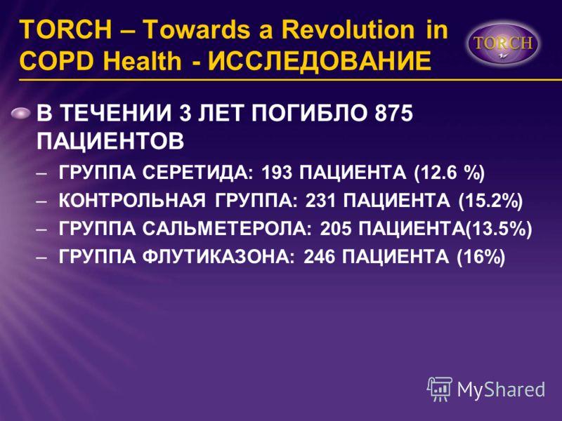 TORCH – Towards a Revolution in COPD Health - ИССЛЕДОВАНИЕ В ТЕЧЕНИИ 3 ЛЕТ ПОГИБЛО 875 ПАЦИЕНТОВ –ГРУППА СЕРЕТИДА: 193 ПАЦИЕНТА (12.6 %) –КОНТРОЛЬНАЯ ГРУППА: 231 ПАЦИЕНТА (15.2%) –ГРУППА САЛЬМЕТЕРОЛА: 205 ПАЦИЕНТА(13.5%) –ГРУППА ФЛУТИКАЗОНА: 246 ПАЦИ