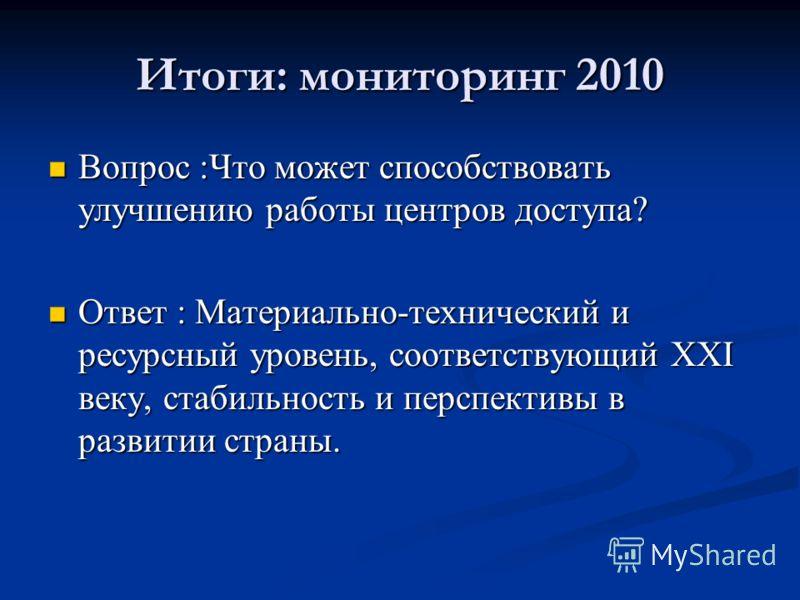 Итоги: мониторинг 2010 Вопрос :Что может способствовать улучшению работы центров доступа? Вопрос :Что может способствовать улучшению работы центров доступа? Ответ : Материально-технический и ресурсный уровень, соответствующий XXI веку, стабильность и