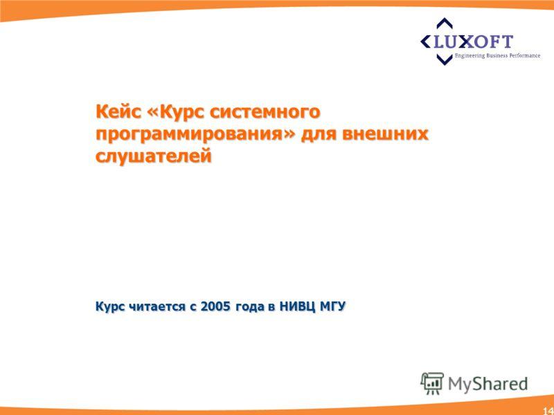 Кейс «Курс системного программирования» для внешних слушателей Курс читается с 2005 года в НИВЦ МГУ 14