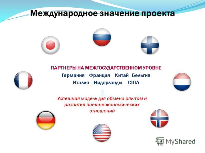 Международное значение проекта ПАРТНЕРЫ НА МЕЖГОСУДАРСТВЕННОМ УРОВНЕ Германия Франция Китай Бельгия Италия Нидерланды США Успешная модель для обмена опытом и развития внешнеэкономических отношений 17