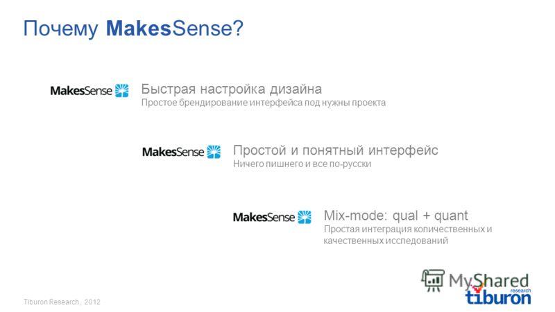 Tiburon Research, 2012 Почему MakesSense? Быстрая настройка дизайна Простое брендирование интерфейса под нужны проекта Простой и понятный интерфейс Ничего лишнего и все по-русски Mix-mode: qual + quant Простая интеграция количественных и качественных