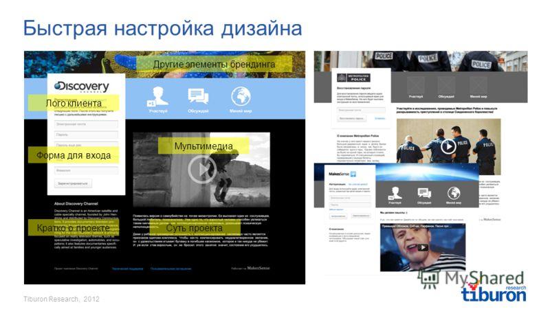Tiburon Research, 2012 Быстрая настройка дизайна Лого клиента Кратко о проекте Другие элементы брендинга Суть проекта Мультимедиа Форма для входа