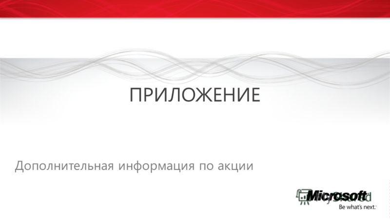 Дополнительная информация по акции ПРИЛОЖЕНИЕ