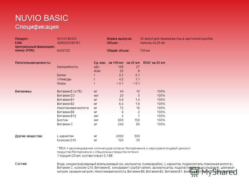 NUVIO BASIC Спецификация Продукт:NUVIO BASICФорма выпуска:30 ампул для приема внутрь в картонной коробке EAN:4260203380101Объем:Ампулы по 25 мл Центральный фармацевт. номер (PZN):6445720Общий объем:750 мл Питательная ценность:Ед. изм.на 100 млна 25 м
