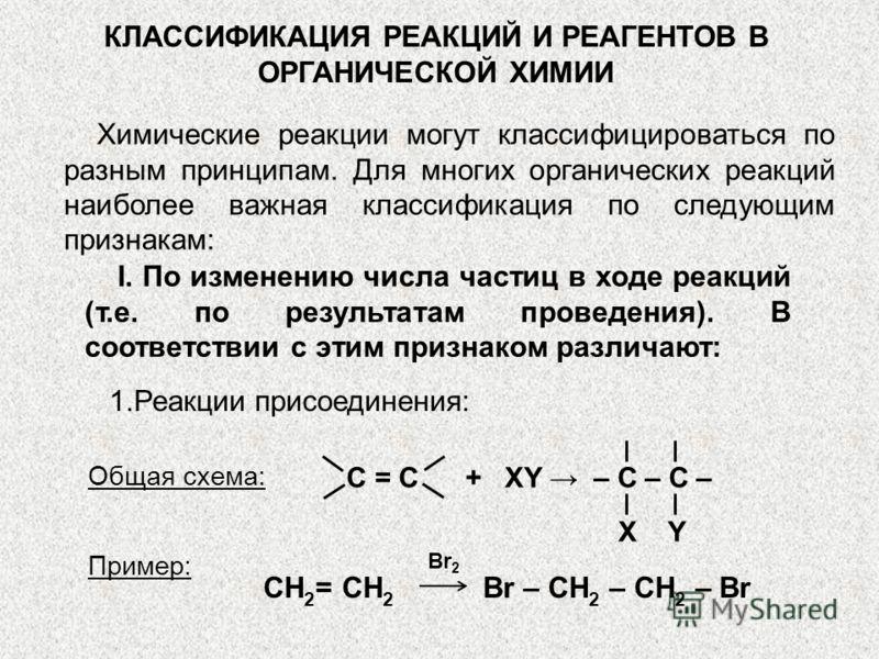 КЛАССИФИКАЦИЯ РЕАКЦИЙ И РЕАГЕНТОВ В ОРГАНИЧЕСКОЙ ХИМИИ Химические реакции могут классифицироваться по разным принципам. Для многих органических реакций наиболее важная классификация по следующим признакам: I. По изменению числа частиц в ходе реакций