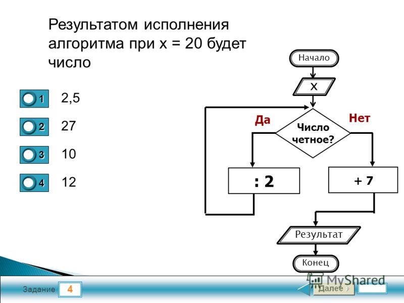 4 Задание 2,5 2727 10 12 1 2 3 4 Результатом исполнения алгоритма при x = 20 будет число Число четное? + 7 : 2 Да Нет x Результат Начало Конец