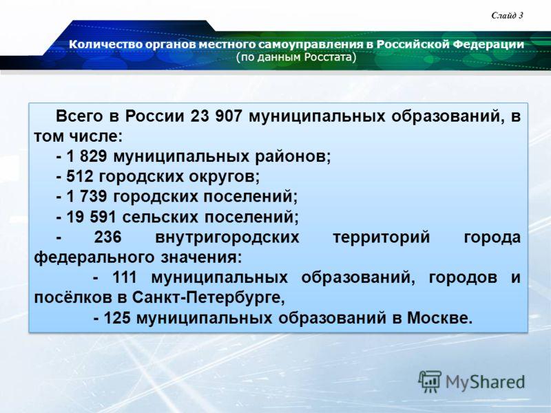 Количество органов местного самоуправления в Российской Федерации (по данным Росстата) Всего в России 23 907 муниципальных образований, в том числе: - 1 829 муниципальных районов; - 512 городских округов; - 1 739 городских поселений; - 19 591 сельски