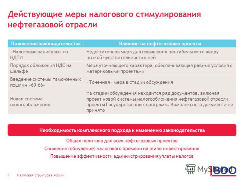 Налоговая структура в России 8 Действующие меры налогового стимулирования нефтегазовой отрасли Необходимость комплексного подхода к изменению законодательства Положения законодательстваВлияние на нефтегазовые проекты «Налоговые каникулы» по НДПИ Недо