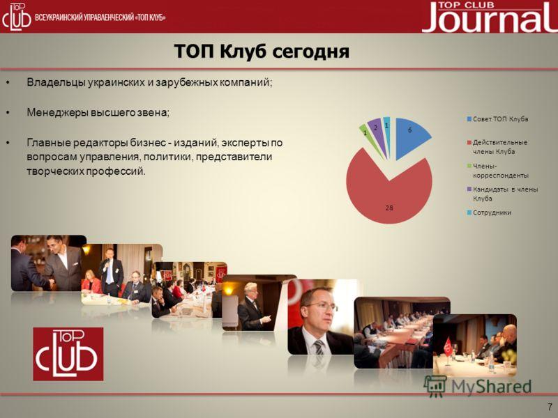 ТОП Клуб сегодня 7 Владельцы украинских и зарубежных компаний; Менеджеры высшего звена; Главные редакторы бизнес - изданий, эксперты по вопросам управления, политики, представители творческих профессий.