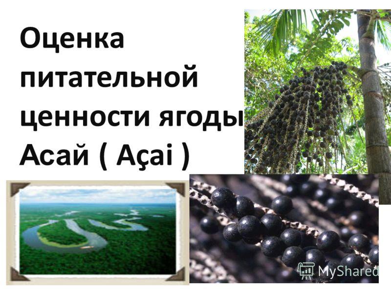 Оценка питательной ценности ягоды Асай ( Açai )