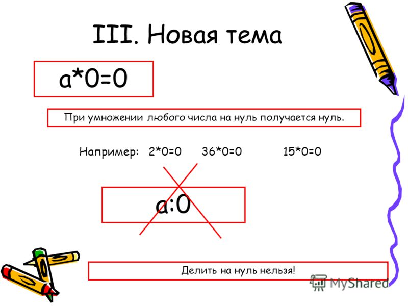 III. Новая тема а*0=0 а:0 При умножении любого числа на нуль получается нуль. Например: 2*0=036*0=015*0=0 Делить на нуль нельзя!