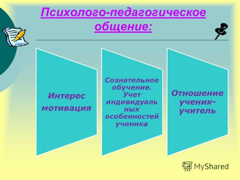 Психолого-педагогическое общение: Интерес мотивация Сознательное обучение. Учет индивидуаль ных особенностей ученика Отношение ученик- учитель