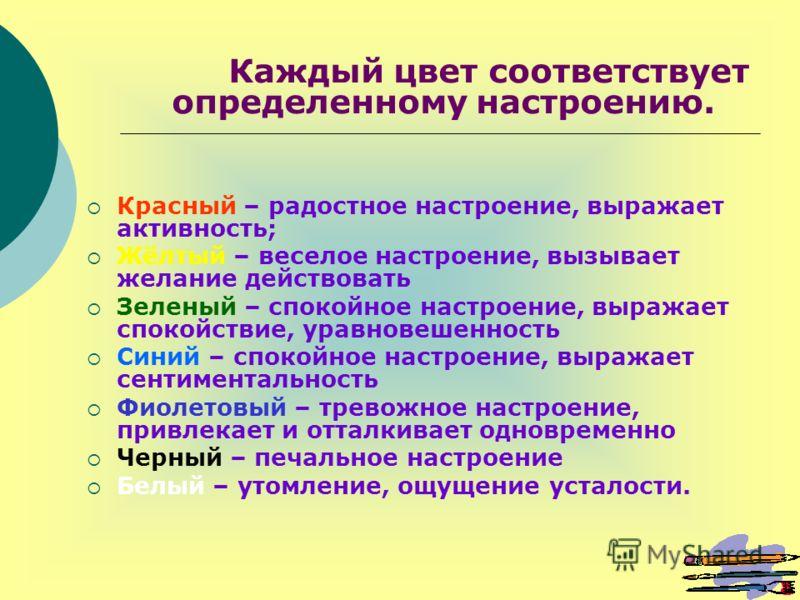 Каждый цвет соответствует определенному настроению. Красный – радостное настроение, выражает активность; Жёлтый – веселое настроение, вызывает желание действовать Зеленый – спокойное настроение, выражает спокойствие, уравновешенность Синий – спокойно