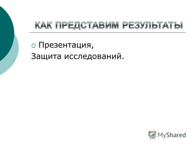 Презентация, Защита исследований.