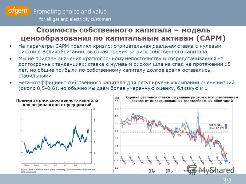 39 Стоимость собственного капитала – модель ценообразования по капитальным активам (CAPM) На параметры CAPM повлиял кризис: отрицательная реальная ставка с нулевым риском в Великобритании, высокая премия за риск собственного капитала Мы не придаём зн