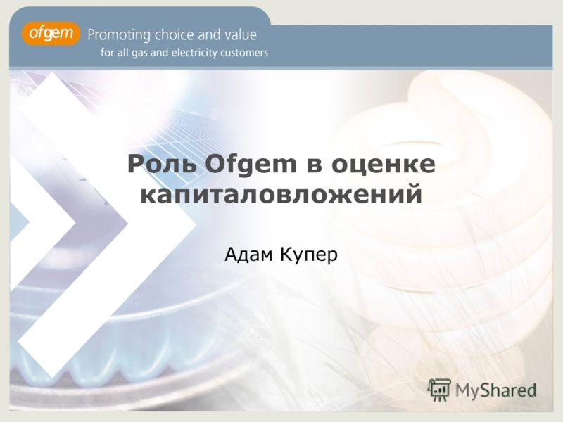 Роль Ofgem в оценке капиталовложений Адам Купер