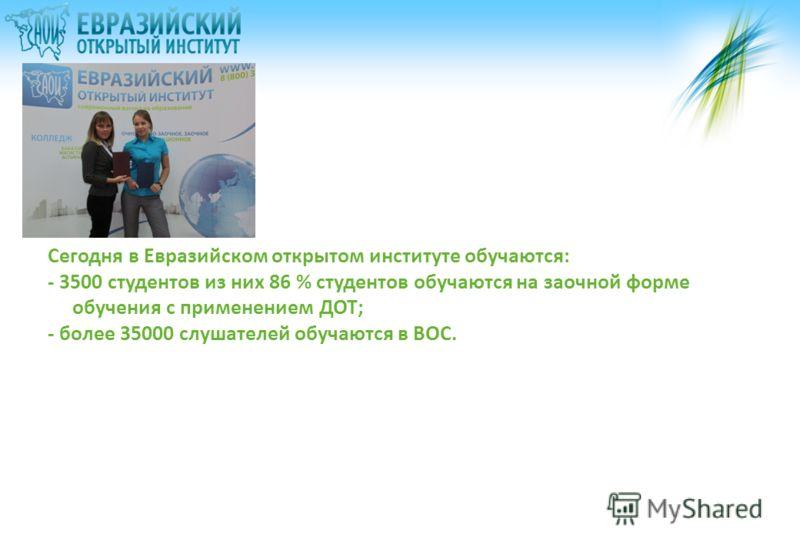 Сегодня в Евразийском открытом институте обучаются: - 3500 студентов из них 86 % студентов обучаются на заочной форме обучения с применением ДОТ; - более 35000 слушателей обучаются в ВОС.