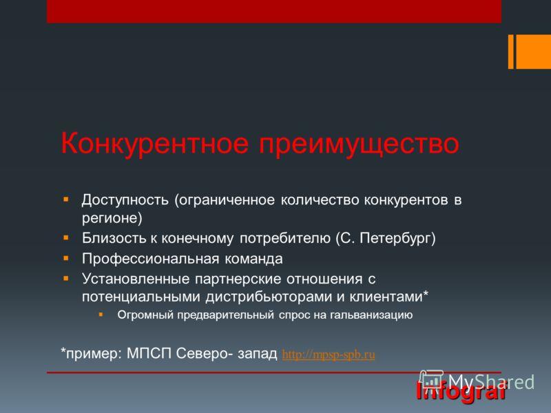 Конкурентное преимущество Доступность (ограниченное количество конкурентов в регионе) Близость к конечному потребителю (С. Петербург) Профессиональная команда Установленные партнерские отношения с потенциальными дистрибьюторами и клиентами* Огромный
