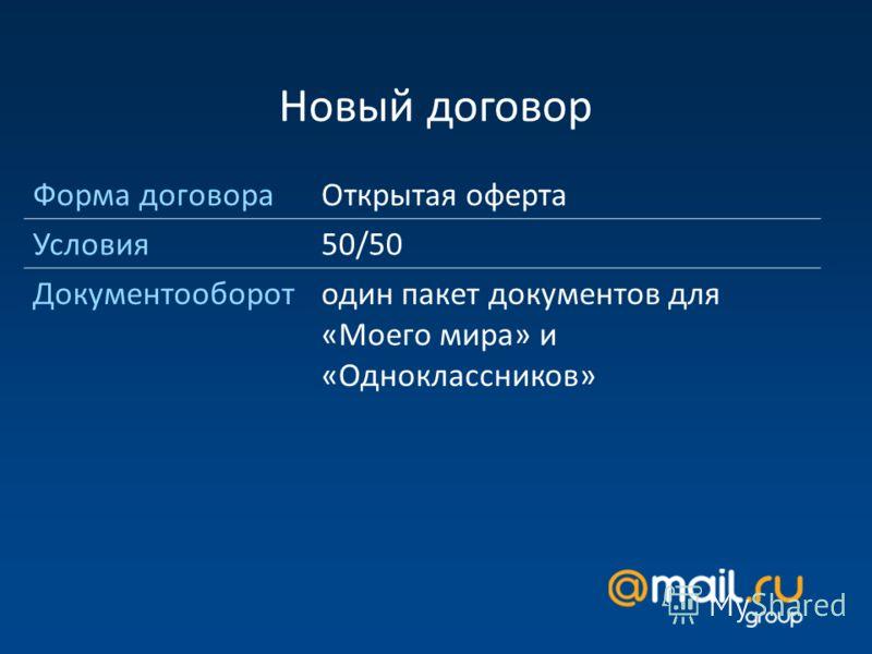Новый договор Форма договораОткрытая оферта Условия50/50 Документооборотодин пакет документов для «Моего мира» и «Одноклассников»