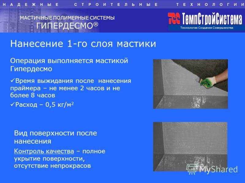 Технология Создания Совершенства МАСТИЧНЫЕ ПОЛИМЕРНЫЕ СИСТЕМЫ ГИПЕРДЕСМО ® Нанесение 1-го слоя мастики Операция выполняется мастикой Гипердесмо Время выжидания после нанесения праймера – не менее 2 часов и не более 8 часов Расход – 0,5 кг/м 2 Вид пов