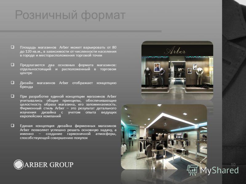 Розничный формат 10 Площадь магазинов Arber может варьировать от 80 до 120 кв.м., в зависимости от численности населения в городе и месторасположения торговой точки Предлагаются два основных формата магазинов: отдельностоящий и расположенный в торгов