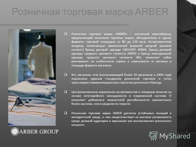 Розничная торговая марка ARBER 3 Розничная торговая марка «ARBER» – зонтичный мультибренд, предлагающий несколько торговых марок, объединенных в одном формате, торговой площадью от 80 до 120 кв.м. Ассортиментная матрица, включающая премиальный (верхн