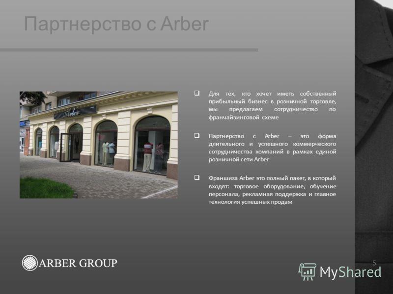 Партнерство с Arber 5 Для тех, кто хочет иметь собственный прибыльный бизнес в розничной торговле, мы предлагаем сотрудничество по франчайзинговой схеме Партнерство с Arber – это форма длительного и успешного коммерческого сотрудничества компаний в р
