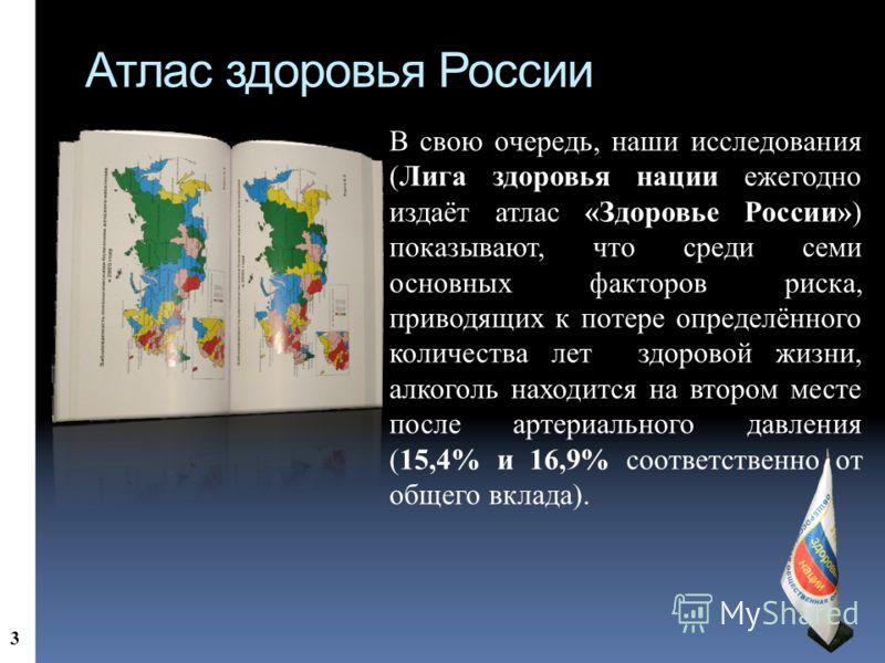 Атлас здоровья России В свою очередь, наши исследования (Лига здоровья нации ежегодно издаёт атлас «Здоровье России») показывают, что среди семи основных факторов риска, приводящих к потере определённого количества лет здоровой жизни, алкоголь находи