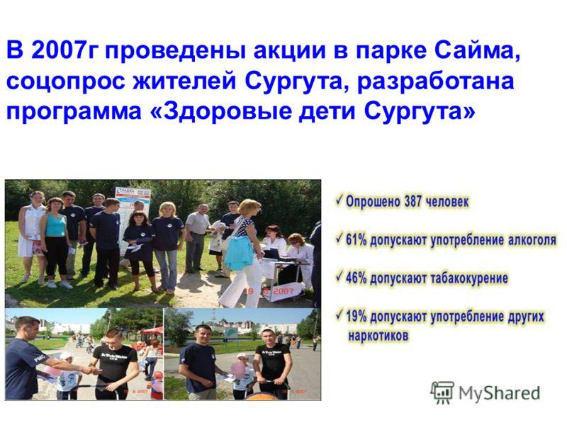 В 2007г проведены акции в парке Сайма, соцопрос жителей Сургута, разработана программа «Здоровые дети Сургута»