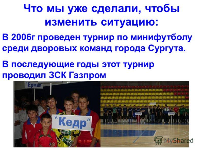 Что мы уже сделали, чтобы изменить ситуацию: В 2006г проведен турнир по минифутболу среди дворовых команд города Сургута. В последующие годы этот турнир проводил ЗСК Газпром