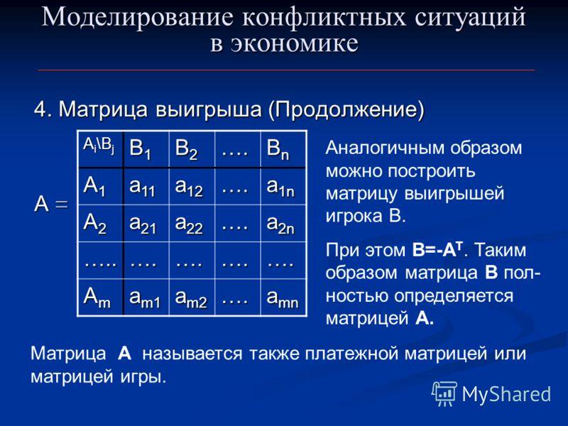 Моделирование конфликтных ситуаций в экономике 4. Матрица выигрыша (Продолжение) А = A i \B j B1B1B1B1 B2B2B2B2…. BnBnBnBn A1A1A1A1 a 11 a 12 …. a 1n A2A2A2A2 a 21 a 22 …. a 2n …..….….….…. AmAmAmAm a m1 a m2 …. a mn Аналогичным образом можно построит