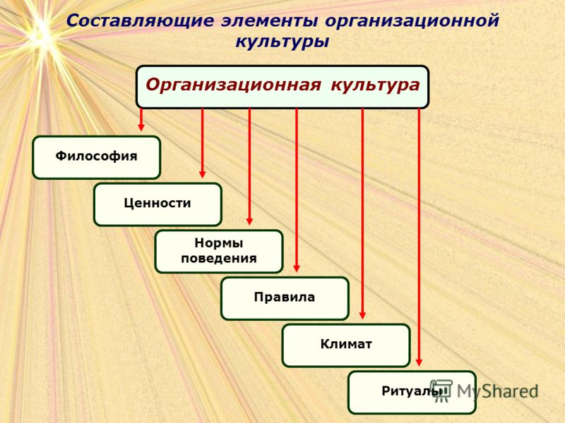 Составляющие элементы организационной культуры Организационная культура ФилософияЦенности Нормы поведения ПравилаКлиматРитуалы