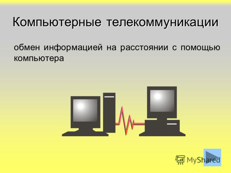 8 Компьютерные телекоммуникации обмен информацией на расстоянии с помощью компьютера