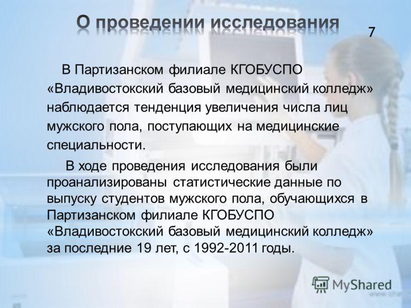 В Партизанском филиале КГОБУСПО «Владивостокский базовый медицинский колледж» наблюдается тенденция увеличения числа лиц мужского пола, поступающих на медицинские специальности. В ходе проведения исследования были проанализированы статистические данн