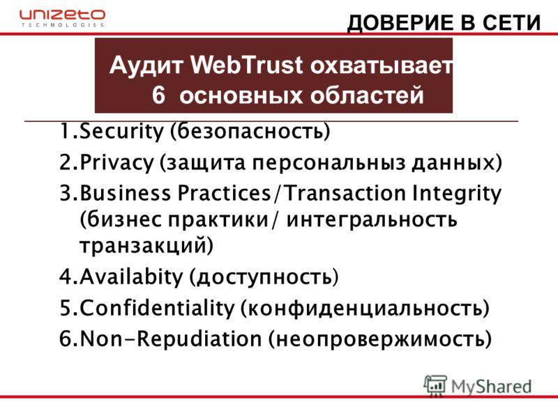 Aудит WebTrust охватывает 6 основных областей 1.Security (безопасность) 2.Privacy (защита персональныз данных) 3.Business Practices/Transaction Integrity (бизнес практики/ интегральность транзакций) 4.Availabity (доступность) 5.Confidentiality (конфи