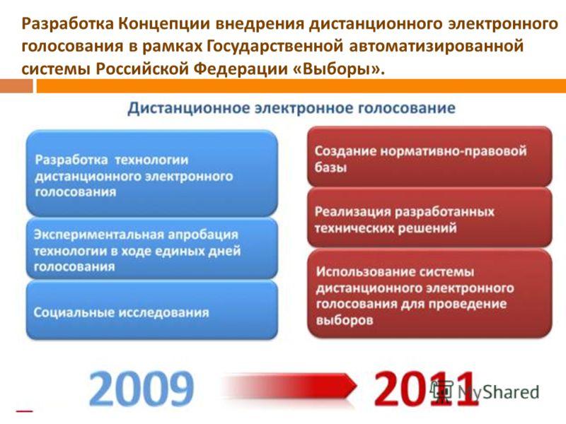 Разработка Концепции внедрения дистанционного электронного голосования в рамках Государственной автоматизированной системы Российской Федерации « Выборы ».